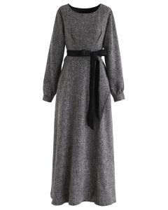 Normcore Lace Belted Maxi-Kleid