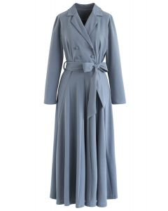 Selbstgebundenes zweireihiges Bowknot-Maxikleid in Dusty Blue