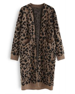 Leopard Pockets Longline Cardigan in Braun