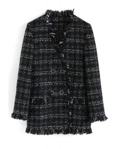 Zweireihiger Tweed-Blazer mit Kantenbesatz