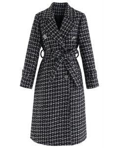Glitzernder Zweireihiger Langleinen Tweed Mantel