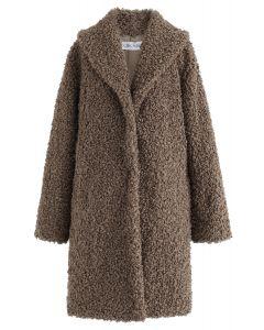 Gefühl von Wärme Faux Fur Longline Coat in Brown
