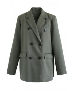 Zweireihiger Split Blazer in Army Green