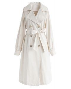 Zweireihiger Longline-Mantel mit Gürtel in Creme