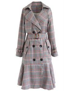 Red Plaid Rüschensaum Zweireihiger Mantel mit Gürtel