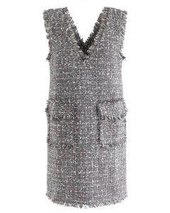 Flap Pockets Tweed V-Neck Shift Kleid in Grau