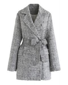 Zweireihiger Tweed-Blazer mit Gürtel in Grau