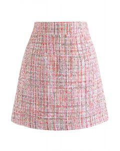 Pailletten Tweed Bud Minirock in Pink