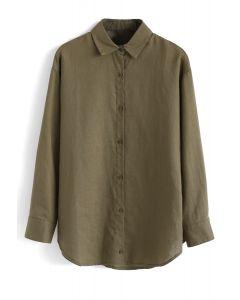 Long Sleeves Button Down Shirt in Armeegrün