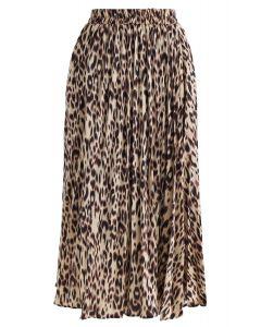 Leopard Printed Pleated Midi Skirt