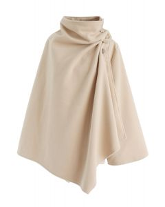 Asymmetric Hem Button Wrap Cape Mantel in Hellbraun