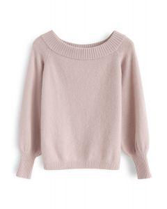 Puffärmel Off-Shoulder Fluffy Knit Sweater in Dusty Pink