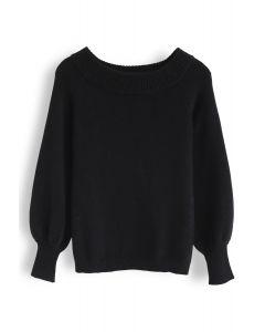 Puffärmel Off-Shoulder Fluffy Knit Sweater in Schwarz