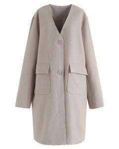 V-Ausschnitt Taschen Longline Coat in Tan