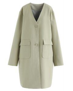 V-Ausschnitt Taschen Longline Coat in Moosgrün