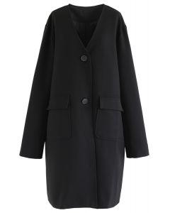 V-Ausschnitt Taschen Longline Coat in Schwarz