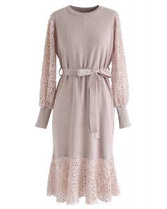 Self-Tied Bowknot Crochet Strick Midi-Kleid in Pink