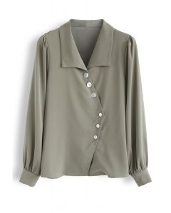 Slant Shell Button Down Shirt in Oliv