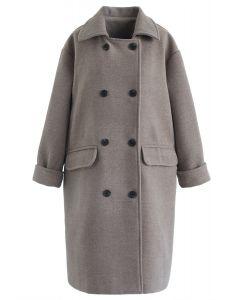 Flap Pockets Zweireihiger Wollmischmantel in Grau