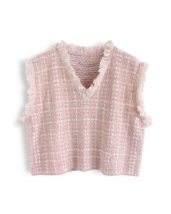 Basic Texture Raw Edge Strickweste in Pink
