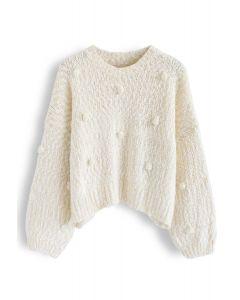 Pom-Pom dekorierter Fuzzy Knit Crop Sweater in Creme