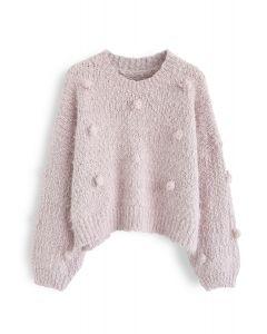 Pom-Pom verzierter Fuzzy Knit Crop Sweater in Pink