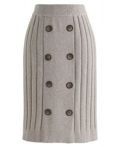 Button Ribbed Knit Bleistiftrock in Sand