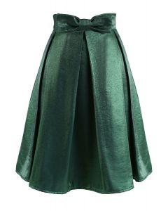 Smaragd Satin Bowknot Plissee Midirock