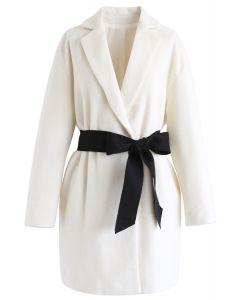 Bowknot Wool-Blended Blazer aus Elfenbein
