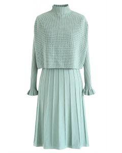 Mock Neck Plissee Strick Twinset Kleid in Minze