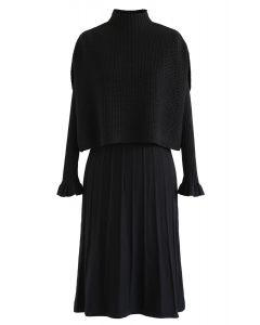 Mock Neck Plissee-Strick-Twinset-Kleid in Schwarz