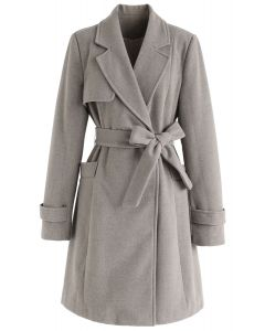 Taupe Belted Flare Coat