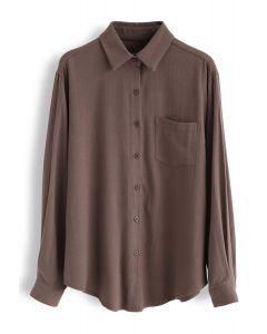 Pocket Button Down Sleeves Shirt in Braun