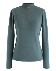 Mock Neck Fitted Knit Top mit Knöpfen in Teal