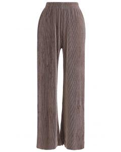 Cordhose mit hoher Taille in Braun