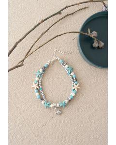 Layered Blue Starfish Beads Bracelet
