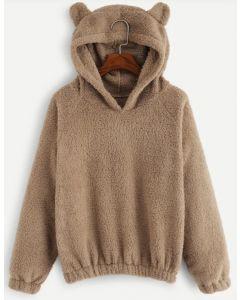 Teddy Hoodie Sweatshirt aus Karamell