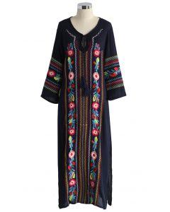 Boho Blossoms - Navy Crepe Langes Kleid