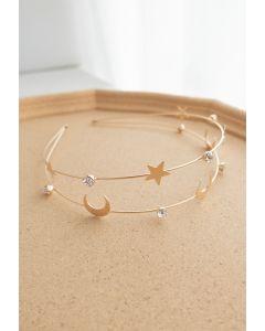 Mond und Stern goldenes Stirnband