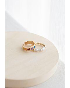 2er Pack Bunte Herz Perlen Ringe