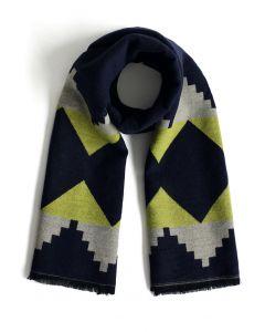 Geospaß - bufanda de lana en azul marino