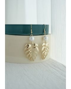 Tropical Leaf and Pearl Drop Earrings