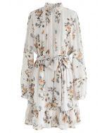 Posy bedruckte Ösenbesätze Chiffon-Kleid