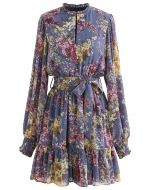 Flying Petals Print Puff Sleeves Ruffle Dress in Lavender