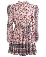 Exotic Bloom Puff Schulter Self-Tie Rüschen Kleid in Creme