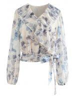 Blumendruck Krawatte Taille Rüschen Semi-Sheer Top