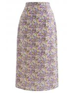 Ditsy Blumen Chiffon Bleistiftrock in Lila