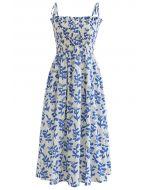 Krawatte Schulter Floral Shirred Midi Kleid in Blau