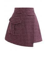 Asymmetrischer Minirock aus Hahnentritt-Tweed in Pink