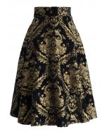 Golden Bouquet Jacquard Midi-Rock